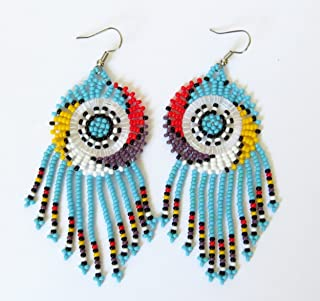 African Zulu beaded earrings - Dreamcatchers (Small) - Blue and multicolour - Gift for her