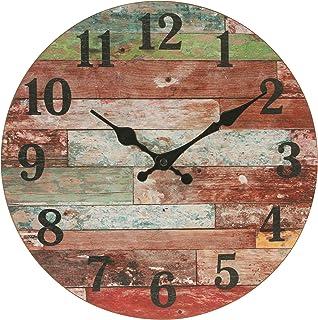 Relógio de parede rústico redondo de madeira de 30 cm Stonebriar, operado a bateria, decoração vintage de fazenda de pared...