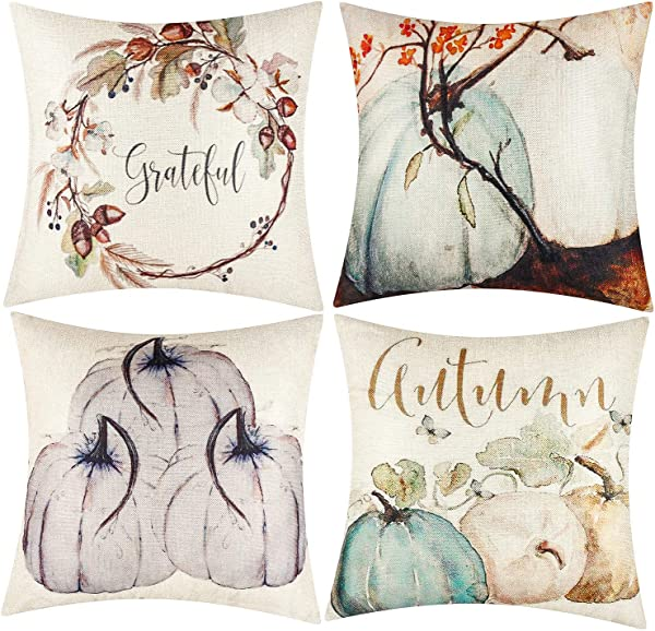 Kolewo4ever 4pieces Fall Throw Pillow Covers Autumn Farmhouse Pillow Cases Happy Fall Cushion Covers For Fall Thanksgiving Festival Home Office Decorations 18 X18 Color Set 1