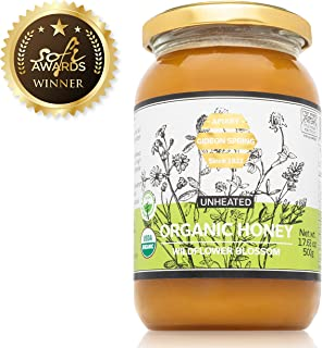 Gideon Spring Premium ORGANIC Honey - Pure Raw Unfiltered UNHEATED 100% Natural (Jar 17.06 ounce) - Exotic Flavor: Organic Wildflower Blossom, from the Land of Milk and Honey