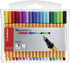 STABILO Point 88 Mini Fineliner Pens, 0.4 mm - 18-Color Wallet Set