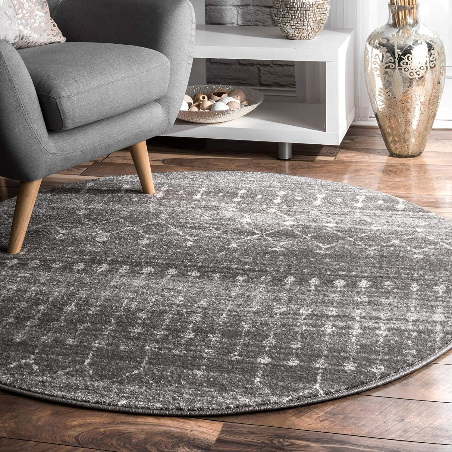 4 x 6 Grey//Off-White nuLOOM Moroccan Blythe Area Rug