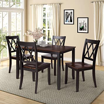 Amazon Com Polibi 5 Piece Wood Dining Table Set Home Kitchen Table Set With 4 High Back Dining Chairs Black Cherry Table Chair Sets