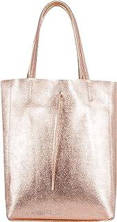 SKUTARI BRAND OF QUALITY GOODS SKUTARI LEDER Vittoria Brillante - Damen Shopper aus echtem Leder, glänzende Handtasche mit eingenähter Innentasche, handgefertigt MADE IN ITALY, Fashion Tragetasche,