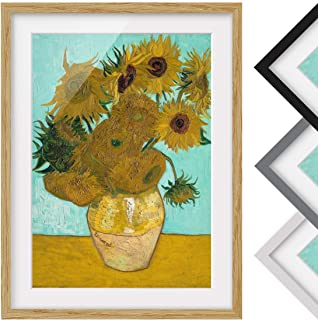 Impresión Bilderwelten enmarcada - Vincent Van Gogh - Girasoles - Marco de madera de roble 70x50cm