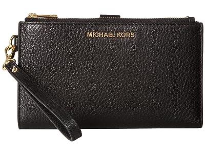 MICHAEL Michael Kors Adele Double-Zip Wristlet 7+ (Black) Wristlet Handbags
