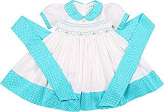 Babeeni Baby Girls Geometric Smocked Dress with Ruffles and Short Sleeves