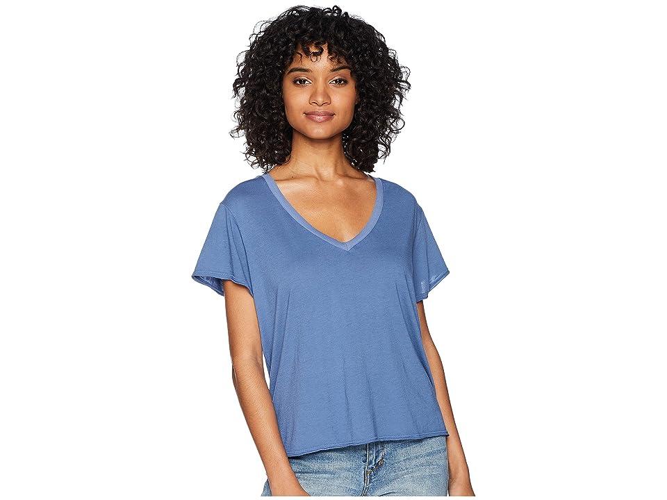Michael Stars Ultra Jersey Cropped V-Neck Tee (Indigo) Women's T Shirt
