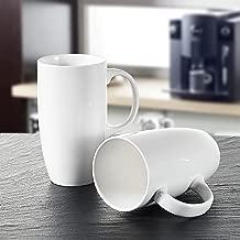 Panbado 2 x Tazas de Café/Té de Porcelana Blanca Tazas de Cerámica, 550 ml (13 * 9 * 15,5 cm), Vasos de Agua/Leche para Hogar, Oficina, Fiesta, Regalo para Cumpleaños, Festival