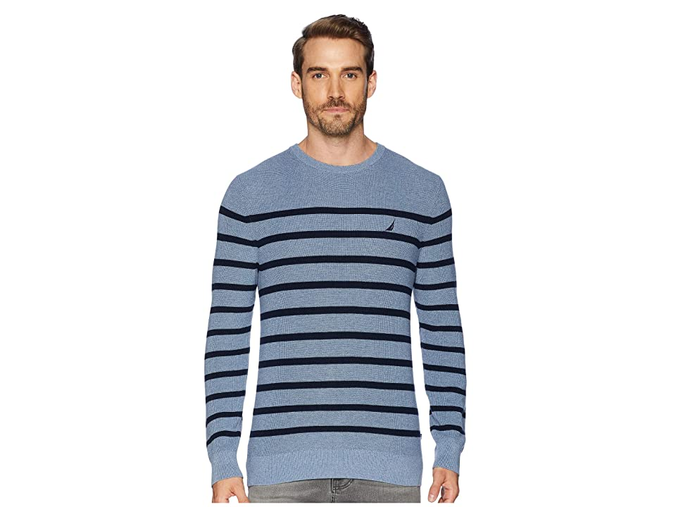 Nautica 12 Gauge Bretton Crew Sweater (Deep Anchor Heather) Men