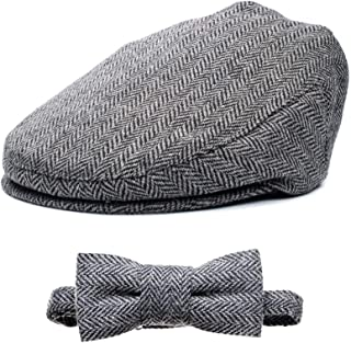 Born to Love Flat Scally Cap Boy's Tweed Page Boy Newsboy Baby Kids Driver Cap Hat XXL, Grey and Black Set