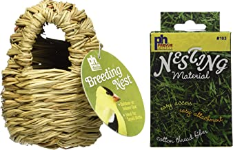 Prevue Pet Products Finch Covered Twig Birds Nest, 4-Inch, Plus a Box of Cotton Thread Fibers Bird Nesting Material
