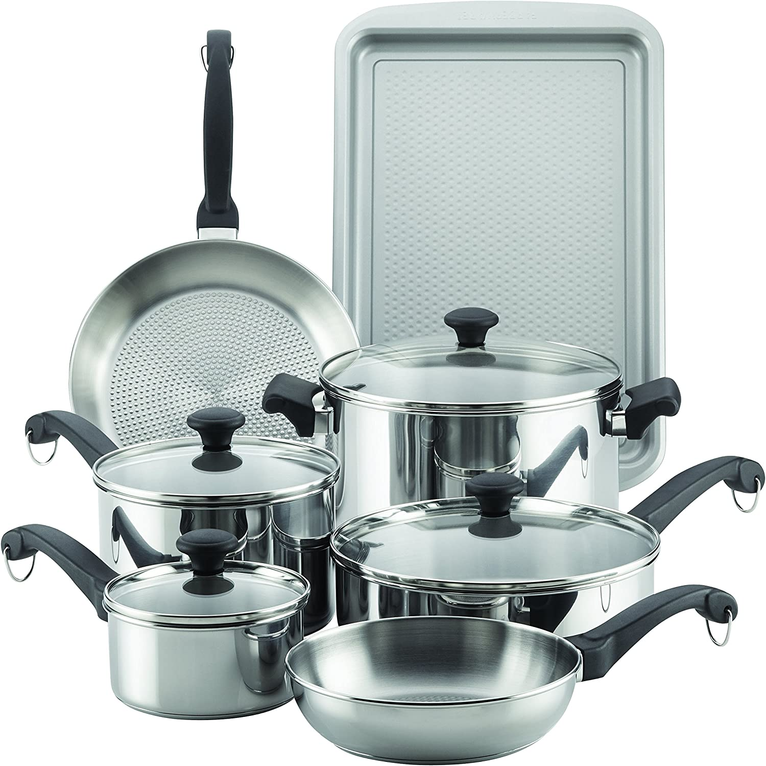 Farberware 70217 Classic Traditions Stainless Steel Cookware Set, Large,