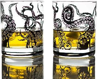 Greenline Goods Whiskey Glasses - 10 Oz Tumbler Gift Set – Kraken Whiskey Glasses (Set of 2)   Rocks Glass Octopus Decor   Old Fashioned Rocks Glasses