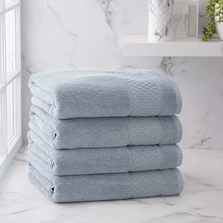 Welhome Hudson 100% Pure Organic trust Fresno Mall Cotton Piece Towels 4 Du Bath