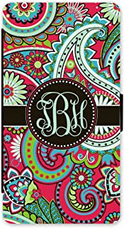 iPhone X, Simply Customized Phone Wallet Case Compatible with iPhone X [5.8 inch] Red Paisley Monogrammed Personalized Protective Case IPXW