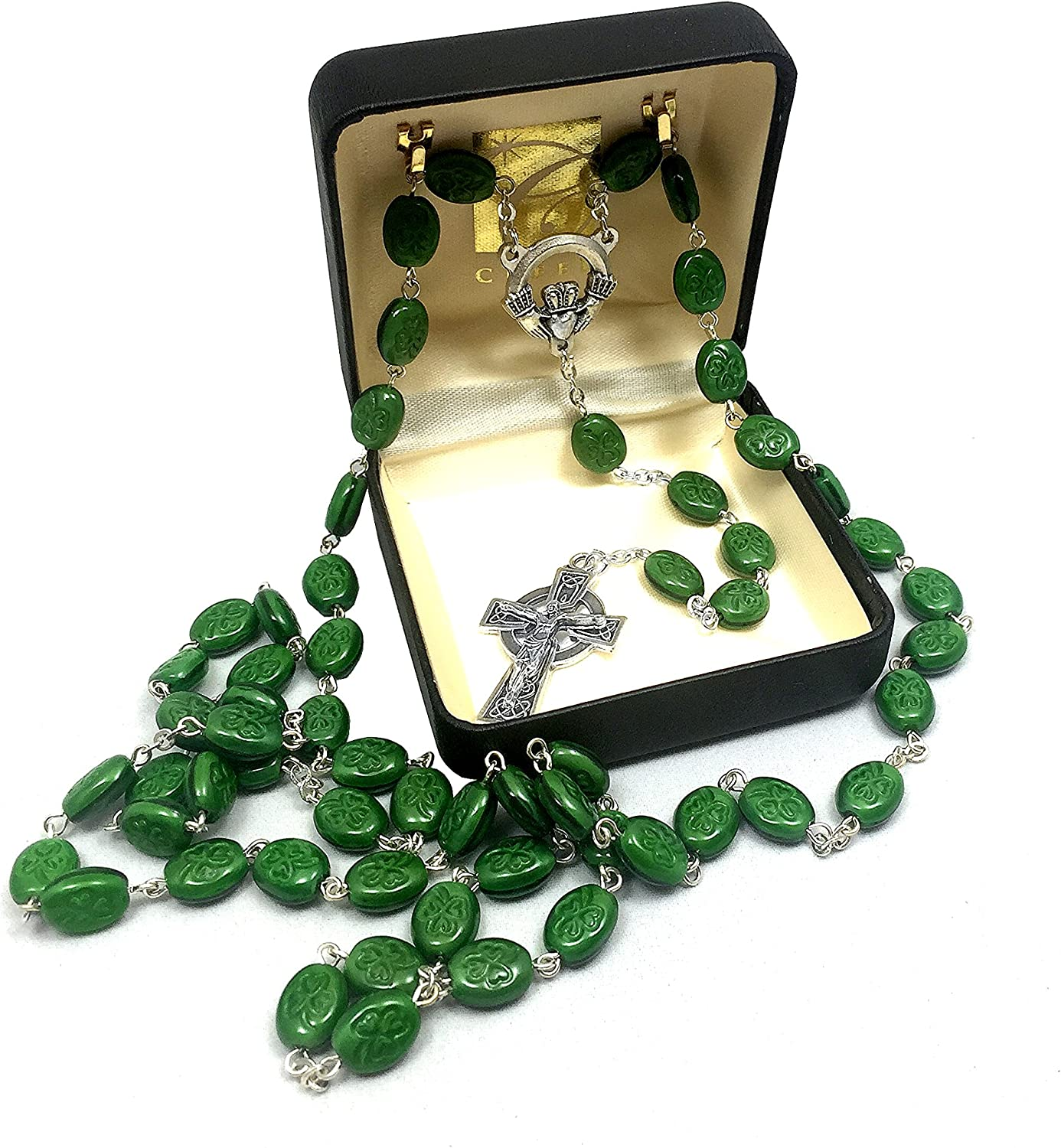 Elysian Gift Shop 24  Irish Shamrock Beads Green pinkry with Silver Tone Celtic Cross and Claddagh Centerpiece