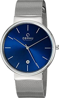 Obaku Men's Quartz Stainless Steel Dress Watch, Color:Silver-Toned (Model: V153GDCLMC)