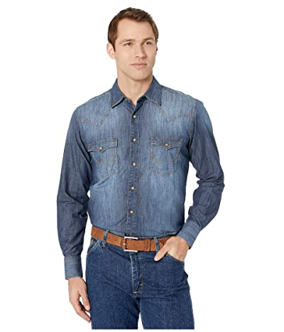 Wrangler Retro Long Sleeve Premium Denim (Blue Denim) Men