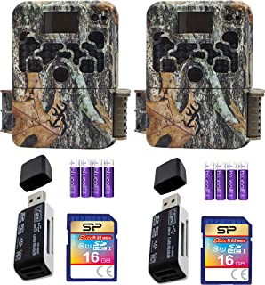 blucoil Browning Trail Cameras Bundle with USB 2.0 Card Reader, Silicon Power 2-Pack of 16GB Class 10 SDHC SD Cards 4 AA Batteries
