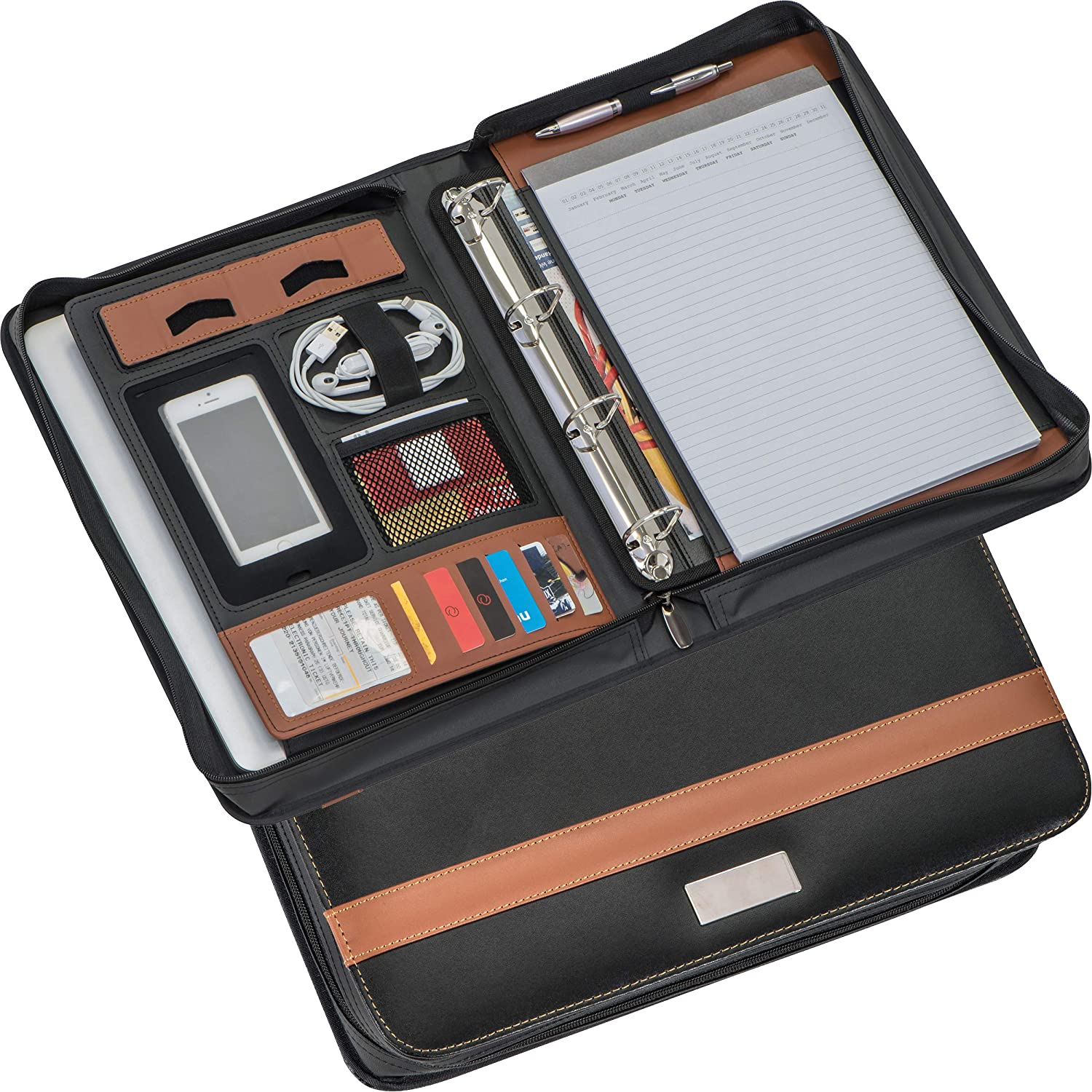 A4 Superior Bonded Leather Writing case Ring Binder with In a popularity Mechanism.