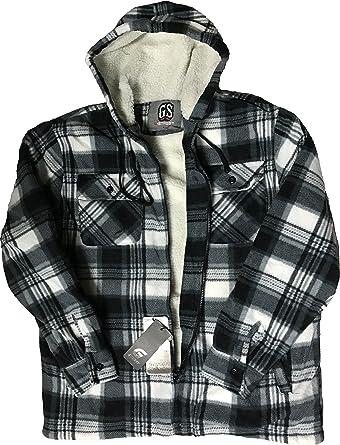 Camisas acolchadas para hombre Lumberjack con capucha de franela a cuadros gruesos acolchados para el trabajo ropa cálida de forro polar térmico con ...