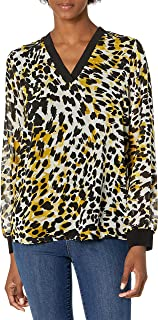Calvin Klein Women's Printed V Neck Blouse with Trim, OCRE/BLK