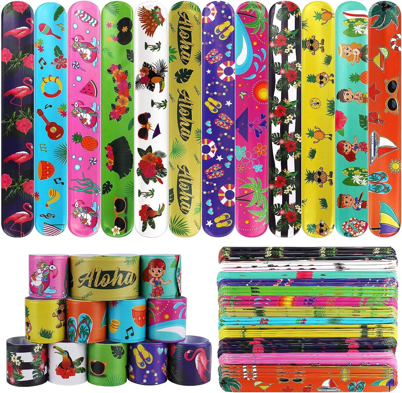 PHOGARY 60 PCS Cheap Hawaiian Theme Slap Bracelets with Favors Party 1 Large-scale sale