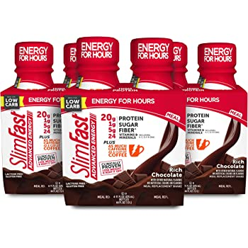 SlimFast Advanced Energy - Meal Replacement Shake - High Protein - Rich Chocolate - 11 Fl. Oz. Bottle - 12 Count - Pantry Friendly