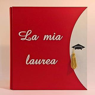 Album fotografico LA MIA LAUREA in pelle eco telata ROSSO con scritta intagliata regalo diploma laurea specialistica unive...