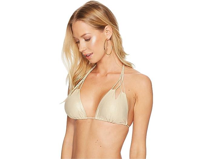 Luli Fama Cosita Buena Zigzag Knotted Cut Out Triangle Bikini Top Gold Rush Swimwear