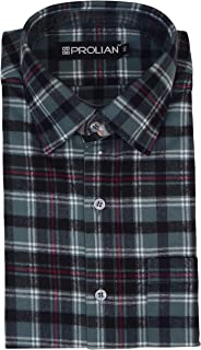 PROLIAN Men's Broad-Checkered Woolen Cotswool Long Sleeve Shirt CTWL11