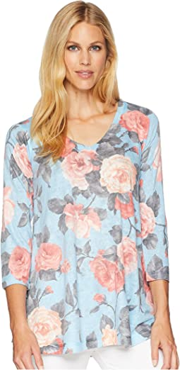 3/4 Sleeve Blue Pink Roses V-Neck Tunic