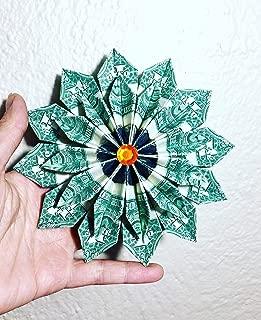 dollar bill Money Origami flower Christmas ornament wreath 12 real dollar bills Graduation Gift
