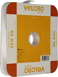 VELCRO Brand For Fabrics | Sew On Soft and Flexible Tape for Alterations and Hemming | No Ironing or Gluing | Comfort Designed, Drapes With Fabric | Cut-to-Length Roll, 30 ft x 5/8 in, White