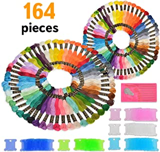 Premium Embroidery Thread for Friendship Bracelet String - 164 Embroidery Floss Skeins, Bobbins, Needles and DMC Color Cards Included - for Cross Stitch or Any Thread Craft - 2 Pack