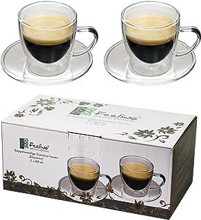 2 tasses à expresso à double paroi 80 ml avec poignée et soucoupe, design moderne et intemporel dans un excellent emballag...