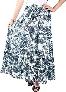 COTTON BREEZE Women's Cotton Long Skirt (Blue, Free Size)