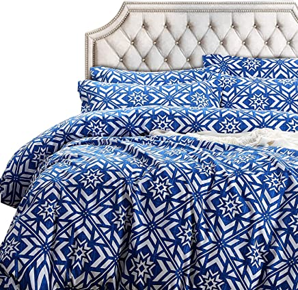 NTBAY 3 Pieces Duvet Cover Set,  Brushed Microfiber,  Geometric Patterns Printed,  Bedding,  Blue,  King