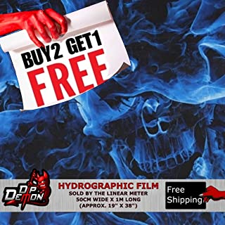 Lm Blue Flaming Skulls Hydrographic Water Transfer Film Hydro Dipping Dip
