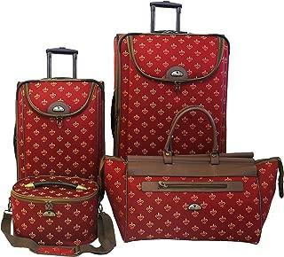 Luggage Fleur De Lis 4 Piece Set, Red, One Size