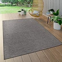 Vloerkleed voor binnen en buiten, voor woonkamer, balkon en terras, platweefsel, grijs, Maat:80x150 cm