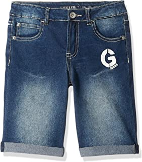 GUESS Boys' Big G Graphic Denim Shorts