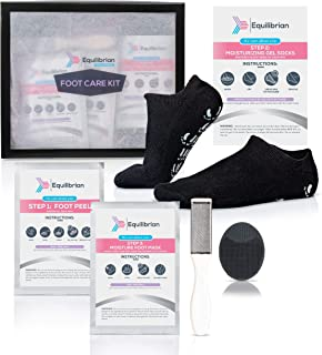 Equilibrian Foot Care Kit-Treatment to Remove Callus and Restore Softness in your Feet Includes: 2 Foot Peel Mask + Moisturizing Socks + Foot Scrubber and Intensive Moisturizing Foot Mask Spa at Home