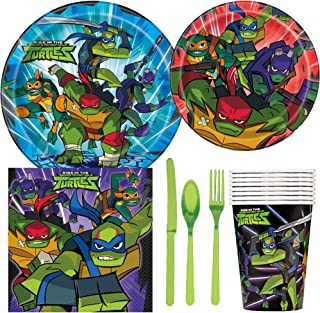 TMNT Teenage Mutant Ninja Turtles Birthday Party Supplies Pack Including Cake & Lunch Plates, Cutlery, Cups & Napkins for 8 Guests