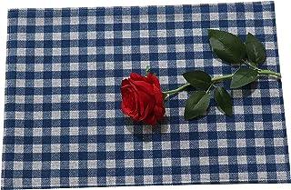 مفارش مطبخ من الكتان يمكن غسلها في الغسالة ومفارش طاولة المطبخ ، مقاس 12 × 18 بوصة بنقشة مربعات منقوشة باللون الأزرق الداكن