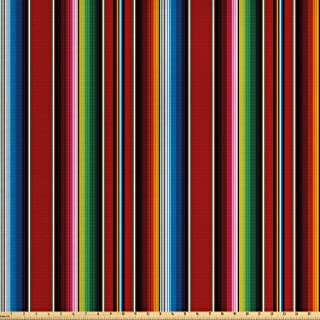 Ambesonne Cinco de Mayo Fabric by The Yard, Mexican Serape Colorful Stripes Vertical Lines Latino Design Illustration, Decorative Fabric for Upholstery and Home Accents, Multicolor