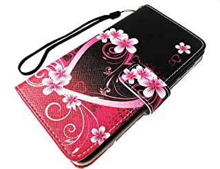 Wallet Pouch Card Holder Protective Case Phone Cover Case Phone Cover for AT&T AXIA QS5509A / Cricket Vision + Gift Stand (Pink Heart Flower)