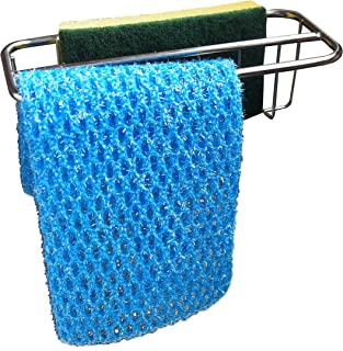 2-in-1 Kitchen Sink Caddy   Sponge + Dish Cloth Hanger Combo   Stainless Steel Kitchen Sink Organizer Holder   No Suction Dishcloth Storage for Swedish Cloths   Uses Strong Detachable 3M Tape