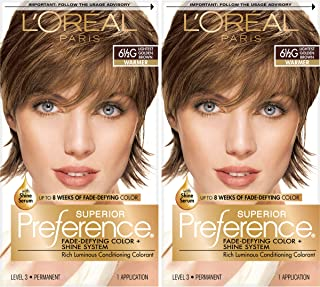 L'Oreal Paris Superior Preference Fade-Defying + Shine Permanent Hair Color, 6.5G Lightest Golden Brown, 2 Count Hair Dye
